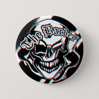 Custom Winking Barber Shop Skull 6 Cm Round Badge