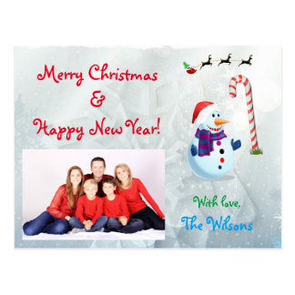 Custom Winter Snowman and Santa Claus Christmas Postcard