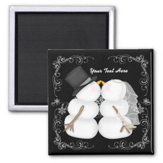 Custom Winter Wedding Snowman Bride and Groom Square Magnet