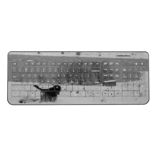 Custom Wireless Keyboard Dog in snow