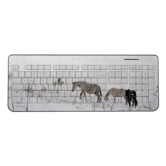 Custom Wireless Keyboard Wild Horses In Snow