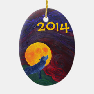 Custom Wolf Double-Sided Oval Ceramic Christmas Ornament