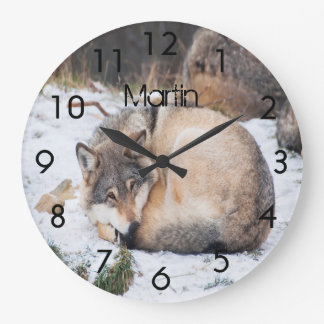Custom wolves sleeping on snow large clock