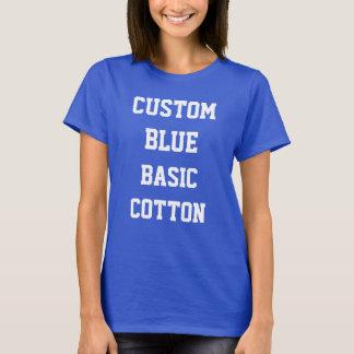 Custom Women's BLUE BASIC COTTON T-SHIRT