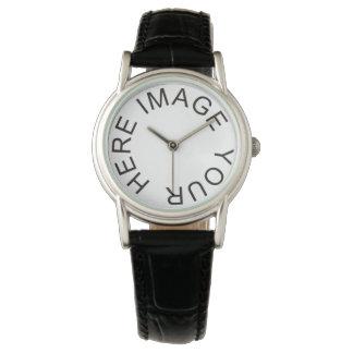 Custom Women's Fashion Classic Black Leather Strap Watch