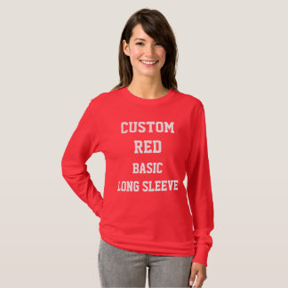 Custom Women's RED BASIC LONG SLEEVE T-SHIRT