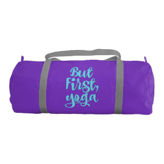Custom Women's Sports Duffle Bag - But First, Yoga Gym Duffel Bag