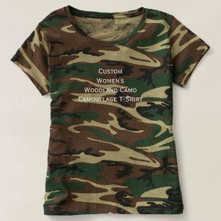 Custom Womens Woodland Camo Camouflage Crew Tshirt