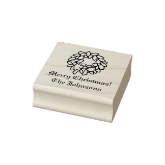 Custom wood art Holiday wreath Christmas stamp