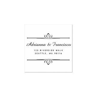 Custom Wooden Chic Wedding Script Return Address Rubber Stamp