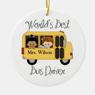 Custom Worlds Best School Bus Driver Round Ceramic Decoration