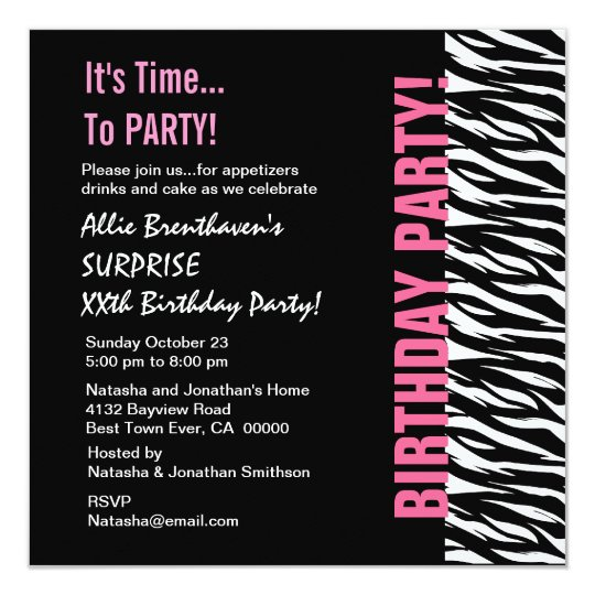 Custom Year Birthday Pink and Black  Zebra V055 Card