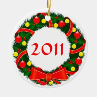 Custom Year Christmas Wreath Ornament