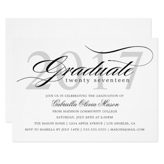 Custom Year Elegant Graduate Graduation Party Card