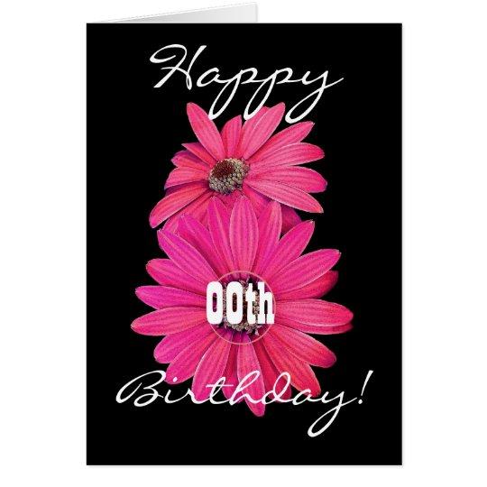 Custom Year Happy Birthday Pretty Pink Daisies Card