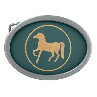 Custom Year of the Horse Belt Buckle, Teal Oval Belt Buckle