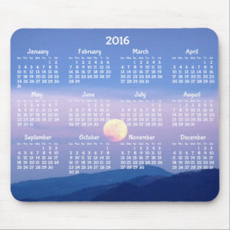 Custom Yearly Calendar 2016 Mouse Pads Full Moon