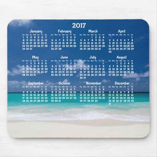 Custom Yearly Calendar 2017 Mouse Pad Beach