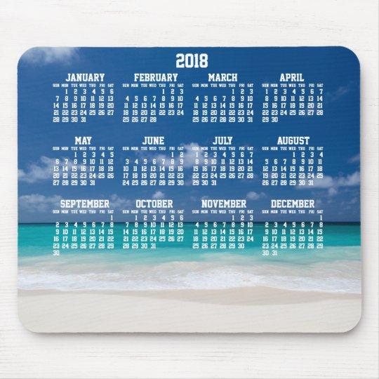 Custom Yearly Calendar 2018 Mouse Pad Beach