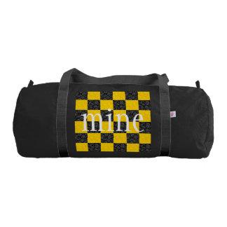 Custom Yellow and Black Checker Gym Duffel Bag