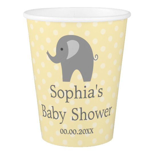Custom yellow grey elephant baby shower paper cups
