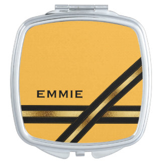 Custom Yellow Mustard w/ Black and Gold Compact Mirror