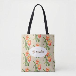 Custom Yellow Parrot Tulips Floral Art Tote Bag