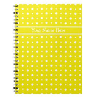 Custom Yellow Spiral Notebook, White Polka Dots Notebook