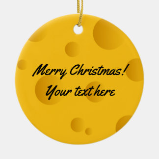 Custom yellow swiss cheese photo Christmas tree Christmas Ornament