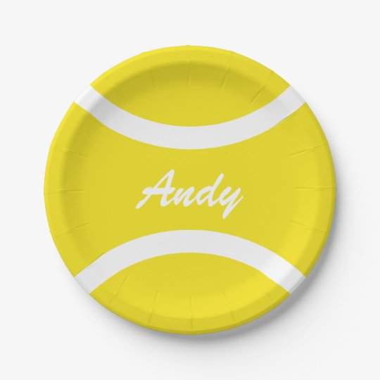 Custom yellow tennis ball BBQ party paper plates