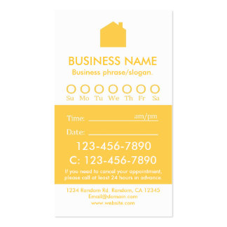 Custom yellow white real estate appointment cards pack of standard business cards