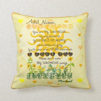Custom You are My Sunshine Throw Cushions