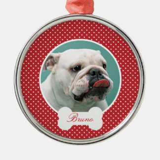 Custom your dogs photo and name christmas ornament