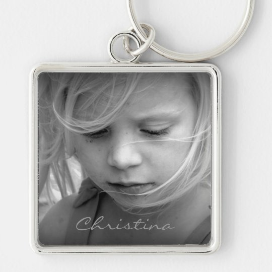 Custom your photo girls name personalised keychain