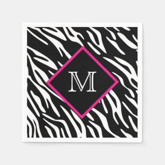 Custom Zebra Print Monogram Napkins Disposable Napkin