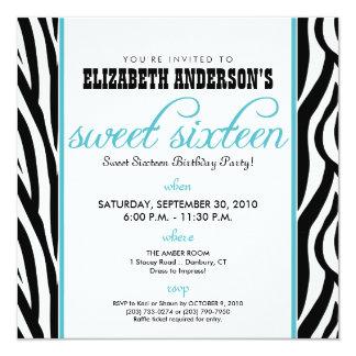 ":custom: Zebra Sweet 16 Party Invitation (aqua) 5.25"" Square Invitation Card"