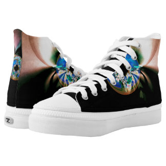 Custom Zipz High Top Shoes, abstract Evil Eye Printed Shoes