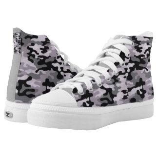 Custom Zipz High Top Shoes Black/gray Printed Shoes