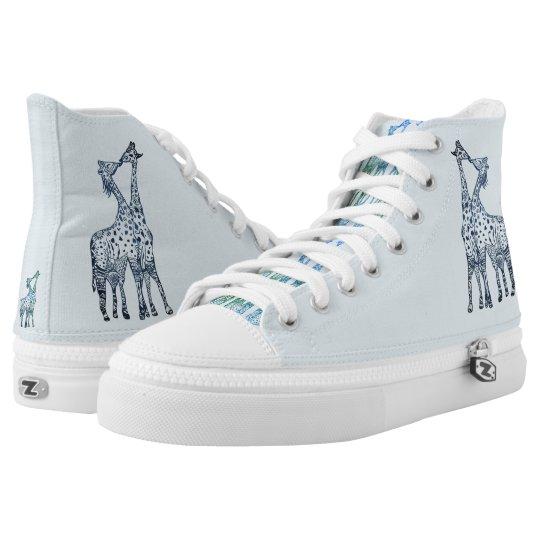 Custom Zipz High Top Shoes, Giraffes Kiss Art