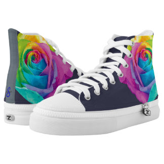 Custom Zipz High Top Shoes Multi Color Flower Printed Shoes