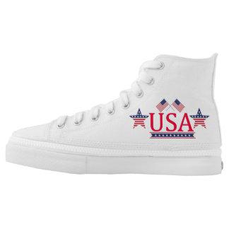 Custom Zipz High Tops USA Logo Printed Shoes