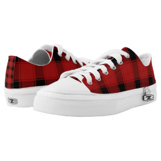 Custom Zipz Low Top Shoes, Plaid Red Printed Shoes