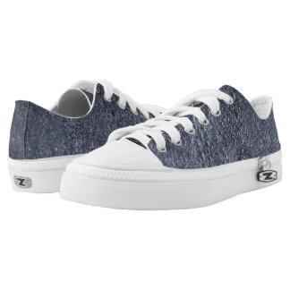 Custom Zipz Low Top Shoes, Rockes Blue Printed Shoes