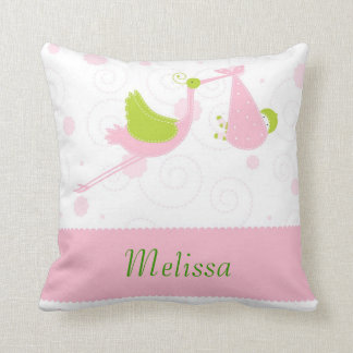 Custome Pink Strok Bringing a Baby Pillow