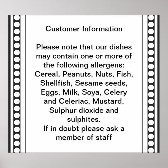 Customer Allergy Information Poster