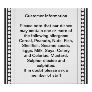 Customer Allergy Information Posters
