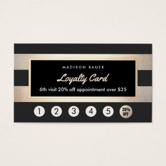 Customer Loyalty 6 Punch Gold and Black Stripes Business Card