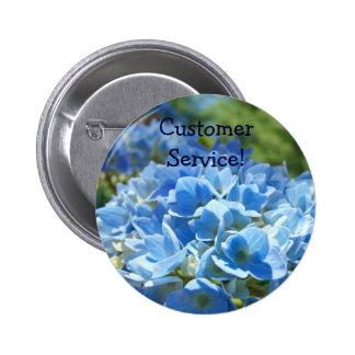 Customer Service buttons Blue Hydrangea Flowers