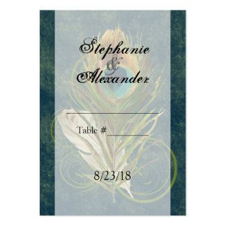 CustomInvites Peacock Feather Wedding Place Cards Business Card Templates