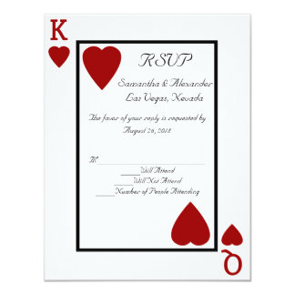 CustomInvites Playing Card King/Queen RSVP 11 Cm X 14 Cm Invitation Card
